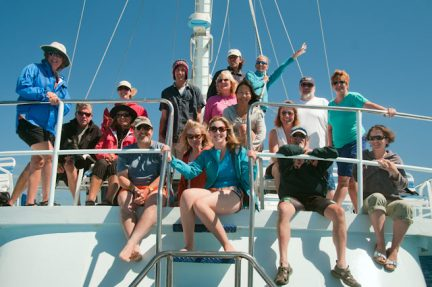 New friends and old, aboard the expedition ship Nai'a