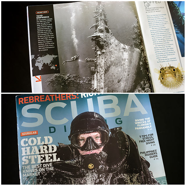 Scubadiving Magazine - underwater photo of scubadiver and upright shipwreck