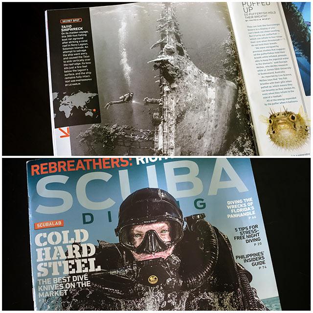 Scubadiving Magazine - Underwater Photo Of Scubadiver And Upright Shipwreck