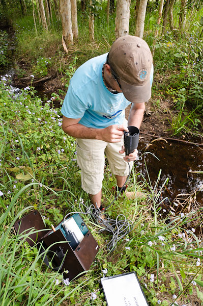 Monitoring water quality with a probe