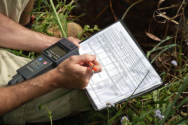 Writing data records monitoring water quality at a stormwater creek